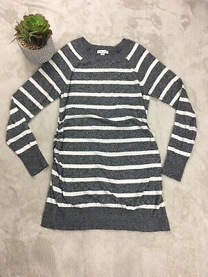 Liz Lange Maternity Long Sweater Dress Sz M Stripe Black White L/S Cinched Sides