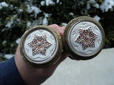 Antique Victorian Curtain Tie Backs Hardware Star Glass Rosettes Greek Key Brass