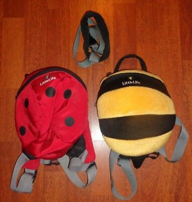 Pair of Littlelife Backpacks Toddler Reins Bee and Ladybird