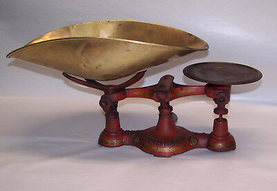 ANTIQUE CAST IRON BALANCE SCALE THE J.B. No.4 ORIGINAL RED PAINT with BRASS PAN
