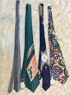Lot Of 4 Men's Vintage Ties Calif Hand Paint, All Silk, Lepetich Manbich Hipster