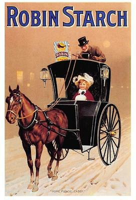 Vintage Advertising Postcard ROBIN STARCH Hansom Cab Reproduction Card NEW