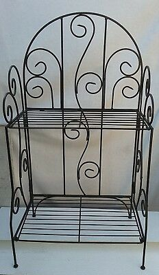 2 Tier  Folding Metal Plant Stand Garden Decorative Planter Holder Shelf Rack
