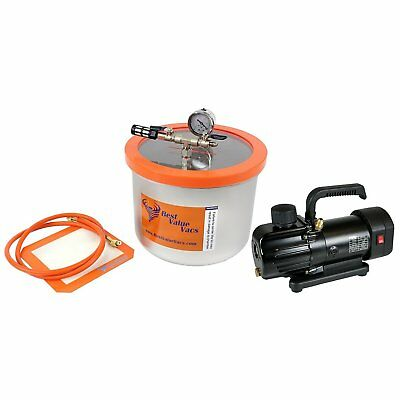 Best Value Vacs 3 Gallon Wide SS Chamber and BVV130 3CFM Single Stage Pump Kit
