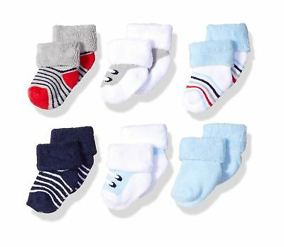 Luvable Friends Baby Newborn Terry Socks, 6 Pack Boy Shoes 0-3 Months