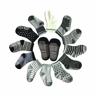 6 Pairs Toddler Assorted Non Skid Ankle Cotton Socks Kids Baby Boy Girl Anti-...