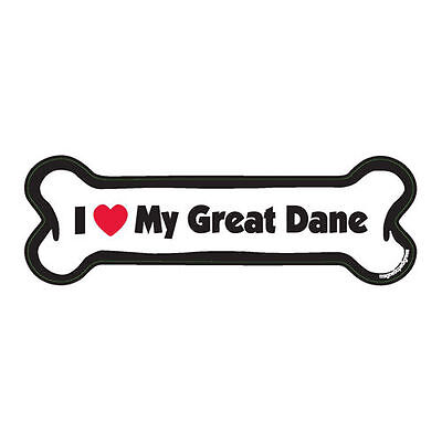 I Love My Great Dane Dog Bone Car Magnet