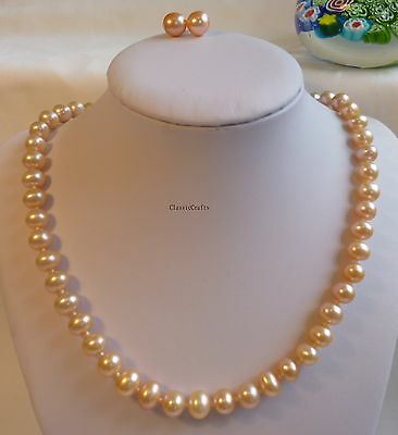 Silver Genuine 8-9mm near round AAAAA freshwater pearl necklace+earring set Pink