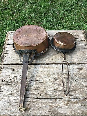 Pair 2 Vtg Old Primitive Copper Cooking Pans Skillet Long Handle Antique Forged
