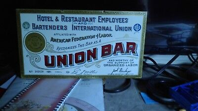 HOTEL and RESTAURANT UNION HOUSE Tin Advertising Sign