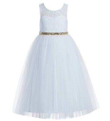 Lace Tulle Scoop Neck Keyhole Back White A-Line Flower Girl Dress Pageant Dress