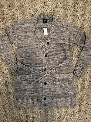 NWT GAP Grey Silver Metallic Long Wrap Maternity Cardigan Sweater Sz Small