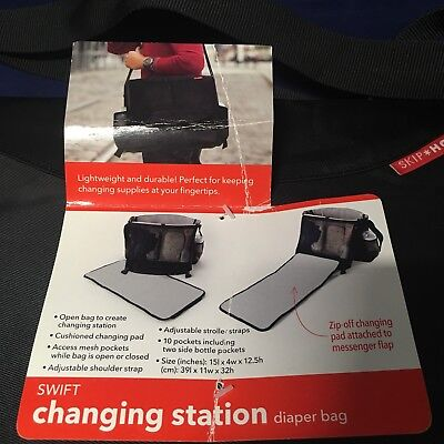 New! Black Skip Hop Swift Changing Station Diaper Bag & Wet & Dry Bag Adjustable