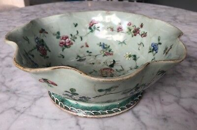 Celadon Famille Rose Porcelain Bowl Antique Chinese Pottery 15th-16th Century