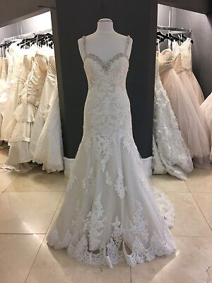 ESSENCE OF AUSTRALIA Ivory & Champagne Lace Low Back Wedding Gown ...