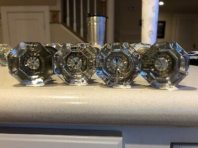 Lot of 4 sets Antique Vintage Glass Door Knobs Architectural Salvage