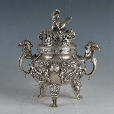 Chinese Silvering Copper Dragons Incense Burner Made During The Da Ming Xuande