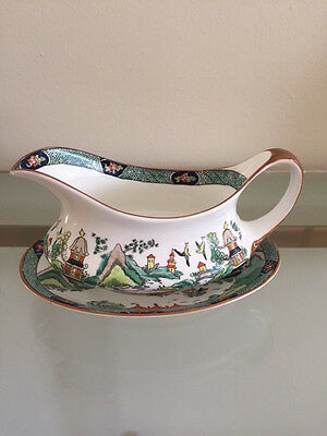 Ye Olde Willow Crown Staffordshire China Gravy Boat with Underplate  -  Sale!