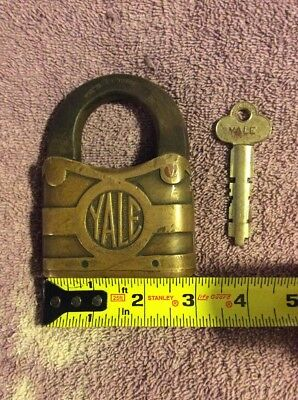 Antique Vintage Yale Padlock Large 3X4 Inch With Key