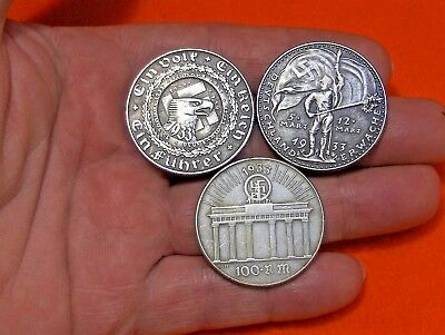Lot Of 3 Coins -  1933 German War Nazi Fuhrer Swastika Wwii Collectible Coin