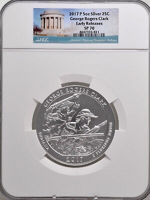 2017 P 5oz SILVER 25C George Rogers Clark NGC SP 70 Early Releases must see!