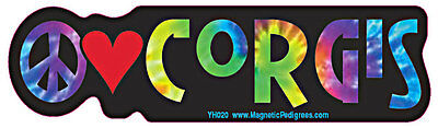 Peace Love Corgi Tie Dye Hippie Dog Car Decal Sticker