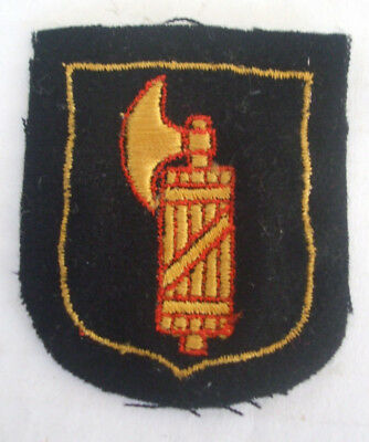 WWII Italian German Volunteer Sleeve Patch with Embroidered Fasces