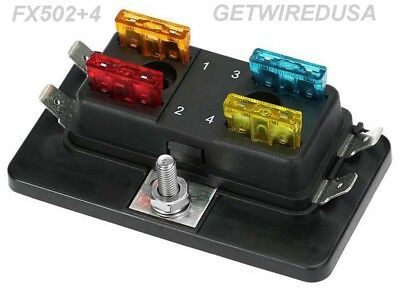 4-Way Atc Auto Fuse Holder Box 1 In 4 Out Power Distribution Panel With Fuses