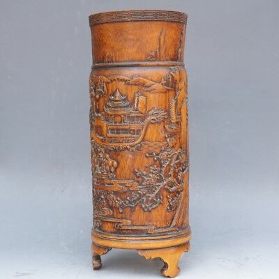 Chinese Exquisite Handcarved Dragon landscape carving bamboo Brush Pot
