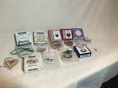 LONGABERGER POTTERY BSKT/ORN TIE-ONS Lot 9 Never Used Sweetheart,TY,HB,Congrats