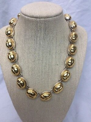 Beautiful Vtg Monet Egyptian Revival Scarab Silver Gold Tone Necklace