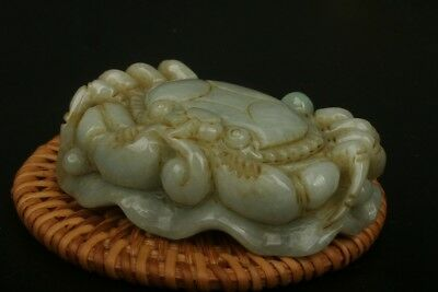 Chinese Exquisite natural jadeite jade Hand-carved Crab and lotus statue