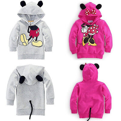 Kids Baby Girl Boy 3D Ear Mickey Minnie Mouse Costume Hoodie Sweatshirt Tops
