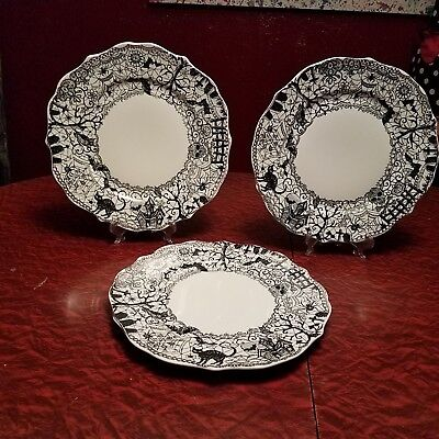 """222 Fifth Wiccan Lace Set Of 3 Halloween Dinner Plates 10 3/4"""""""