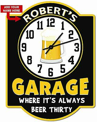 Personalized Beer Thirty Hardboard Garage Clock Sign