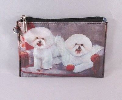WHITE BICHON FRISE Dog Zippered Lined Coin Purse Wallet Travel Makeup Bag