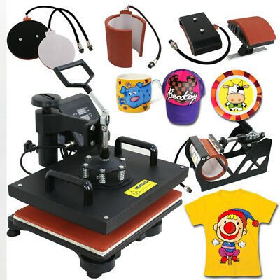 Used 5 in 1 Dual Digital Transfer Sublimation Heat Press Machine T-Shirt Mug Hat