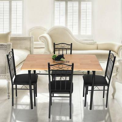 5 Piece Dining Room Table Kitchen Set Four 4 Chairs Light MDF Metal Frame