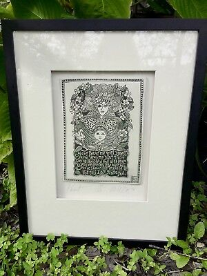 large Framed Marsha McCarthy PARENT Drawings On Clay Tile Art Hand Signed Number