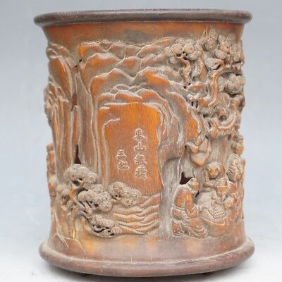 Chinese Exquisite Hand-carved landscape character horse carving bamboo Brush Pot
