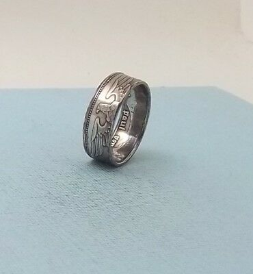 Third Reich WWII 1938 German 2 mark 62.5% silver coin ring size 8