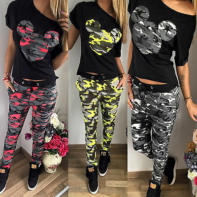 Women 2Pcs Camo Mickey Tracksuit T-shirt Jogger Pants Gym Sets Sport Wear Casual
