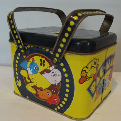 Vintage 1980 Pac Man Square 2 Handle Lunch Box
