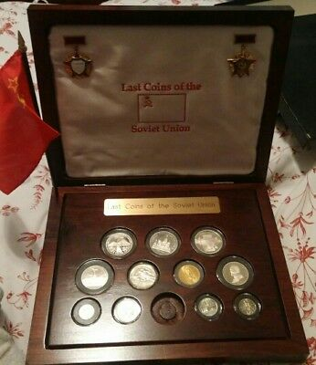 Last Coins of the Soviet Union Set with Wooden display case