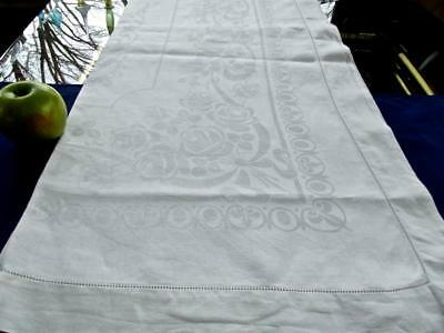 Antique White Irish Linen 68x85 Tablecloth Damask Roses Ribbons Hemstitched