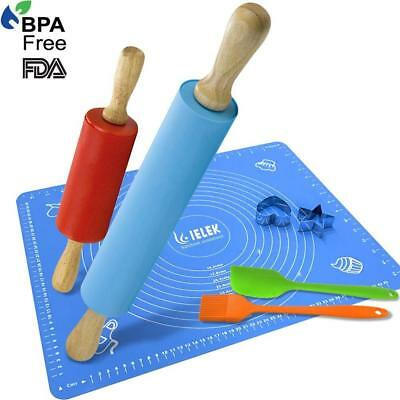 Rolling Pin and Pastry Mat Silicone Spatula Basting Pastry Brushes Set:Combo...