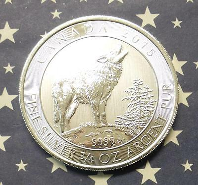 2015 Canada Gray Wolf $2 Silver Coin, 3/4oz .9999 Fine Canadian Silver Coin
