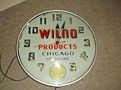 Rare Lighted Wilno Products Chicago Electric Clock Wilno Koser Advertising 18""