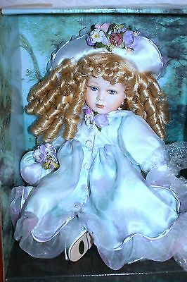 "New Seymour Mann Porcelain Doll 11"" Sitting Casey In Lavender Floral Dress & Hat"