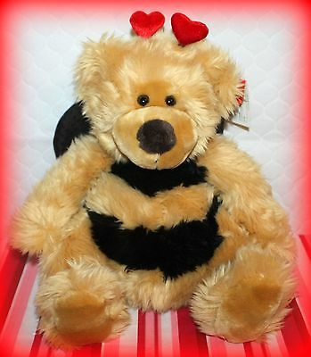 """*nwt* Russ 14"""" Bubblebee Stuffed Animal *floral* With Heart Antenna's & Wings"""
